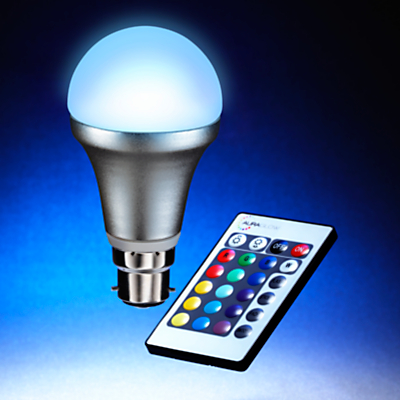 Auraglow 4W BC A55 LED Bulb and Remote Control, Multi