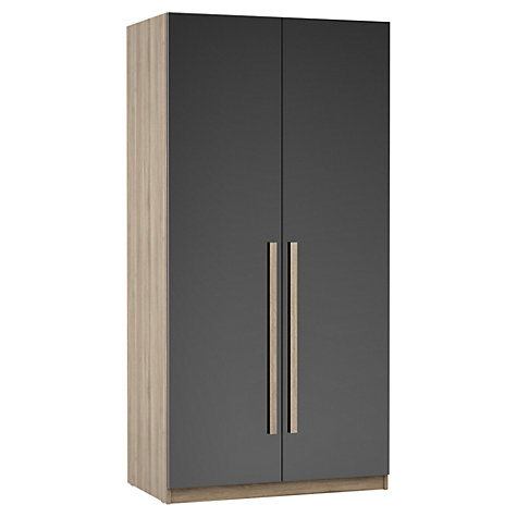 Buy House by John Lewis Mix it Block Handle Double Wardrobe, Gloss House Steel/Grey Ash Online at johnlewis.com