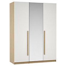 Buy House by John Lewis Mixit Block Handle Mirrored Triple Wardrobe, Gloss White/Natural Oak Online at johnlewis.com