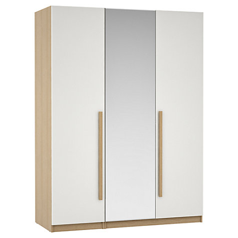 Buy House by John Lewis Mix it Block Handle Mirrored Triple Wardrobe, Gloss White/Natural Oak Online at johnlewis.com