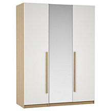 House by John Lewis Mixit Block Handle Bedroom Range, Gloss White/Natural Oak