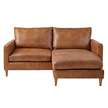 Buy John Lewis Bailey RHF Leather Chaise End Sofa, Lustre Cappuccino Online at johnlewis.com