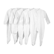 Buy John Lewis Sleepsuits, Pack of 5, White Online at johnlewis.com
