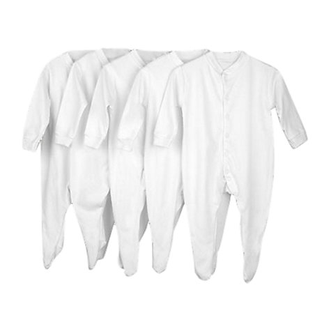Buy John Lewis Baby Sleepsuits, Pack of 5, White Online at johnlewis.com
