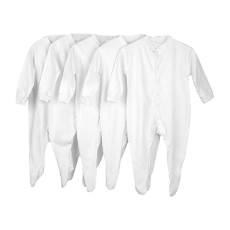 John Lewis Baby Sleepsuits, Pack of 5, White 27375
