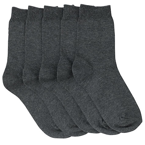 Buy John Lewis Unisex Ankle Socks, Pack of 5, Charcoal Online at johnlewis.com