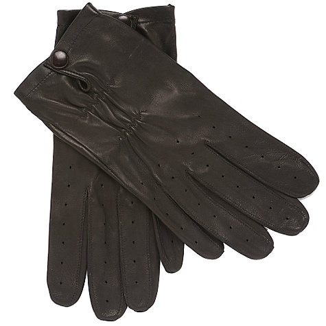 Buy John Lewis Leather Driving Gloves, Black Online at johnlewis.com
