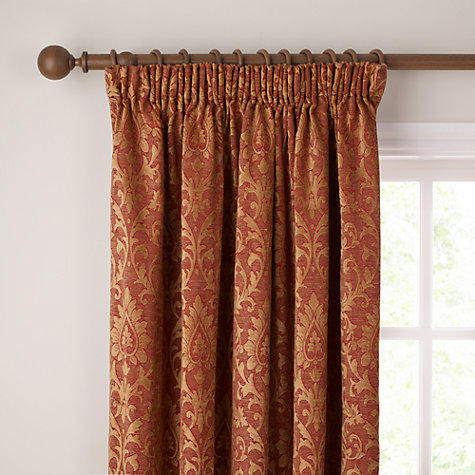 Buy John Lewis Kensington Lined Pencil Pleat Curtains, Red Online at johnlewis.com