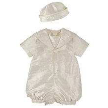 Buy John Lewis Baby Boys Silk Christening Romper and Hat Online at johnlewis.com