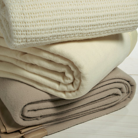 Buy John Atkinson by Hainsworth Monarch Pure Wool Blanket, Cream Online at johnlewis.com