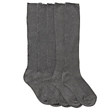 Buy John Lewis Unisex Knee High Socks, Pack of 5, Charcoal Online at johnlewis.com