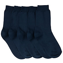 Buy John Lewis Children's Ankle Socks, Pack of 5, Blue Online at johnlewis.com