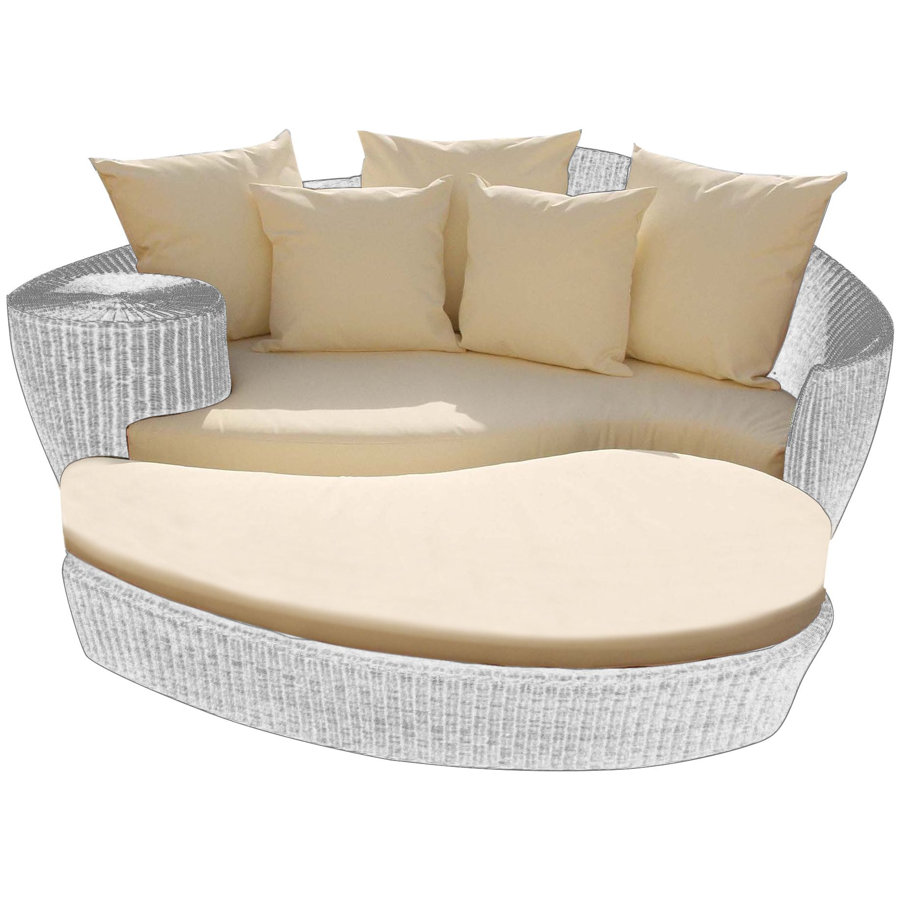 Barlow Tyrie Dune Day Bed Seat & Footstool Cushion Set, White Sand