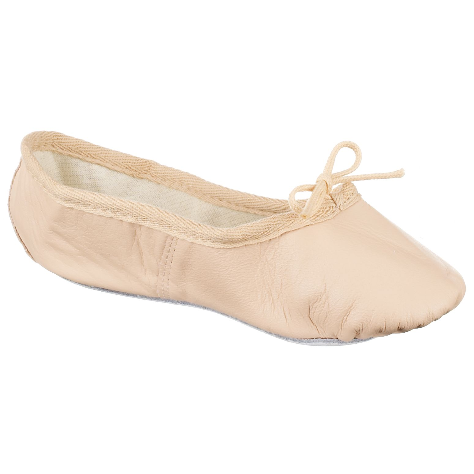 John Lewis Girl Leather Ballet Shoes, Salmon 43802