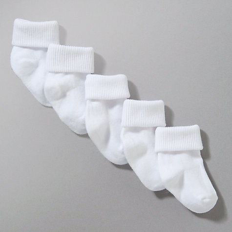 Buy John Lewis Roll Top Socks, Pack of 5, White Online at johnlewis.com