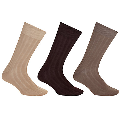 Buy John Lewis Pure Mercerised Cotton Socks, Pack of 3, Brown Online at johnlewis.com