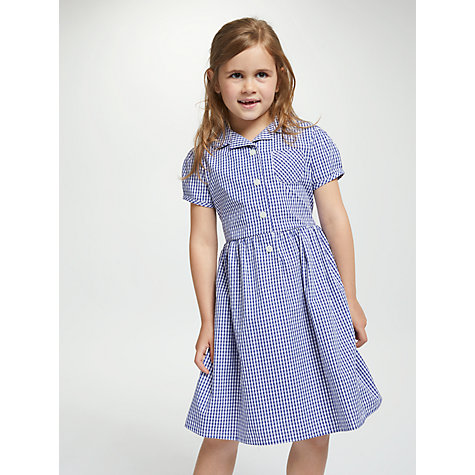 Buy John Lewis School Belted Gingham Checked Summer Dress, Navy Online at johnlewis.com