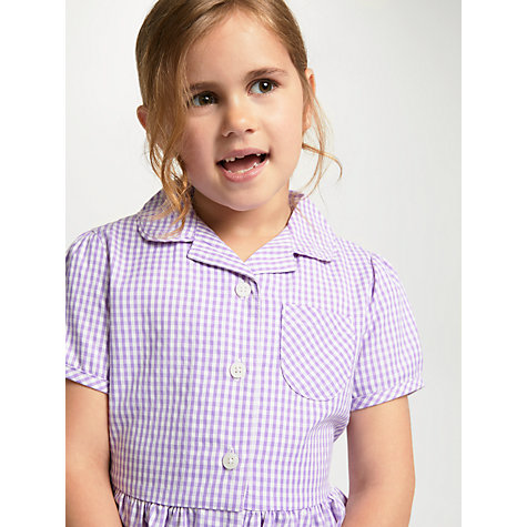 Buy John Lewis School Belted Gingham Checked Summer Dress, Lilac Online at johnlewis.com