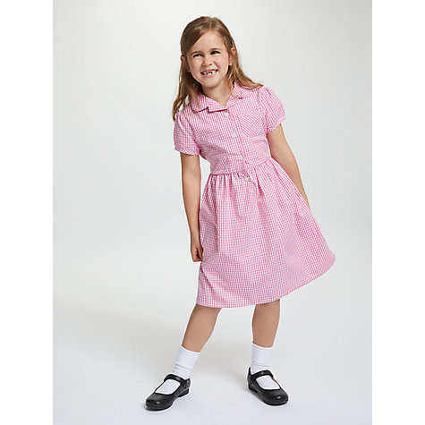 Buy John Lewis School Belted Gingham Checked Summer Dress, Pink Online at johnlewis.com