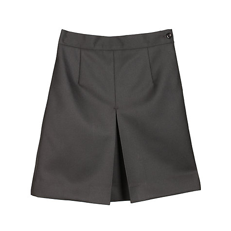 Buy Girls' Wool Mix Inverted Pleat School Skirt, Black Online at johnlewis.com