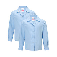 Buy John Lewis Girls' Open Neck Long Sleeve School Blouse, Pack of 2, Blue Online at johnlewis.com