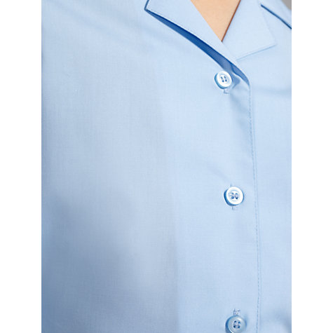 Buy John Lewis Girls' Non-Iron Long Sleeve Open Neck School Blouse, Pack of 2, Blue Online at johnlewis.com