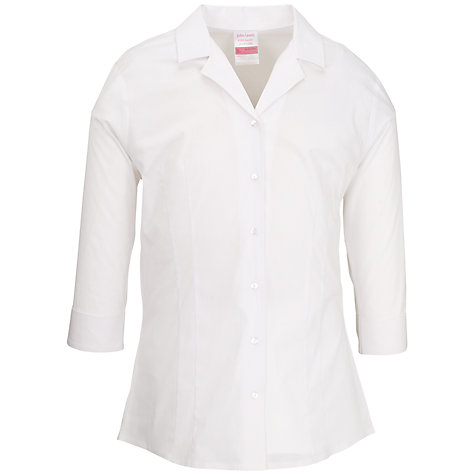 Buy John Lewis Girls' School Fitted Stretch School Blouse, White Online at johnlewis.com