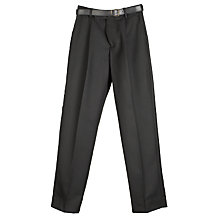 Buy John Lewis Boys' Tailored School Trousers with Belt, Black Online at johnlewis.com