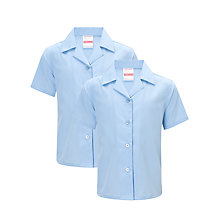 Buy John Lewis Girls' Short Sleeved Non-Iron Open Neck School Blouse, Pack of 2, Blue Online at johnlewis.com