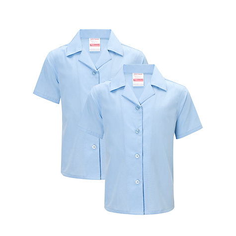 Buy John Lewis Girls' Non-Iron Open Neck School Blouse, Pack of 2, Blue Online at johnlewis.com