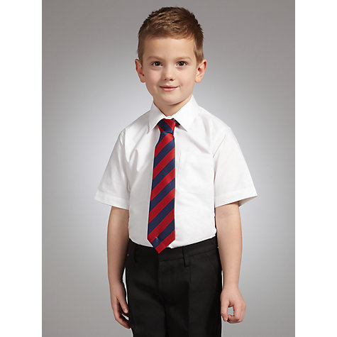 Buy John Lewis Boys' Short Sleeve Non-Iron School Shirt, Pack of 2, White Online at johnlewis.com