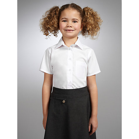 Buy John Lewis Girls' Non-Iron Short Sleeve School Blouse, Pack of 2, White Online at johnlewis.com