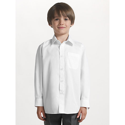 Buy John Lewis Boys' Long Sleeve Non-Iron School Shirt, Pack of 2, White Online at johnlewis.com