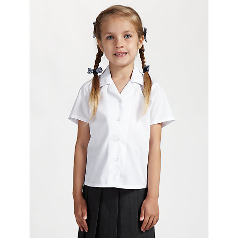 Buy John Lewis Girls' Non-Iron Open Neck School Blouse, Pack of 2, White Online at johnlewis.com