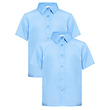Buy John Lewis Girls' Short Sleeved Button to Neck School Blouse, Pack of 2, Blue Online at johnlewis.com