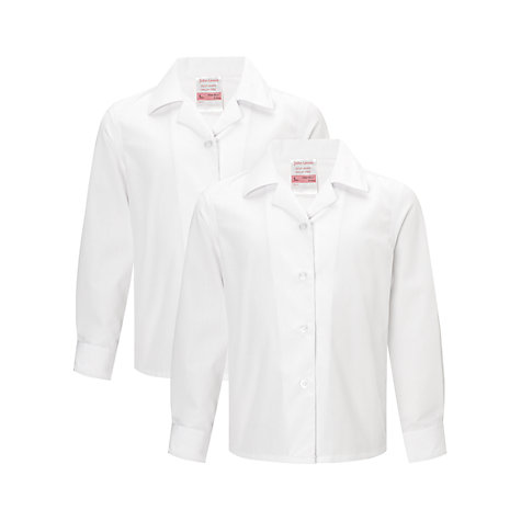 Buy John Lewis Girls' Non-Iron Long Sleeve Open Neck Blouse, Pack of 2 Online at johnlewis.com