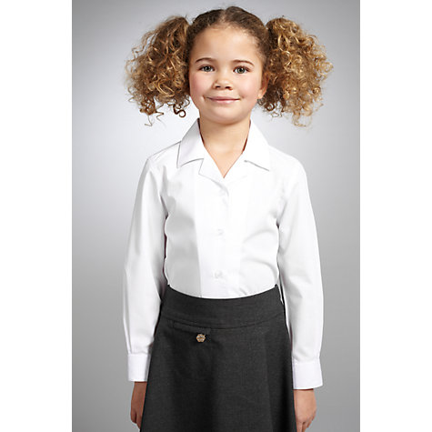 Buy John Lewis Girls' Open Neck Long Sleeve Blouse, Pack of 2, White Online at johnlewis.com