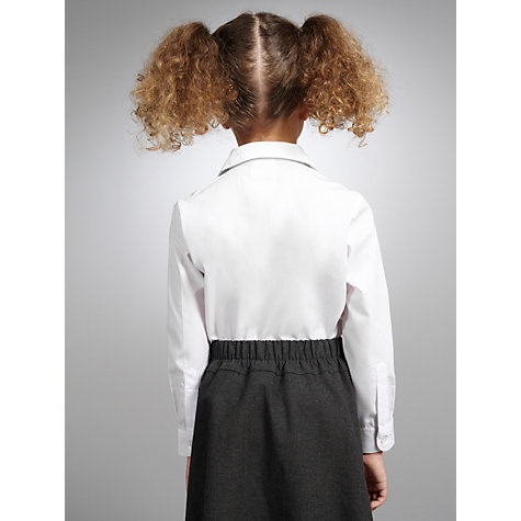 Buy John Lewis Girls' Non-Iron Long Sleeve Open Neck Blouse, Pack of 2, White Online at johnlewis.com