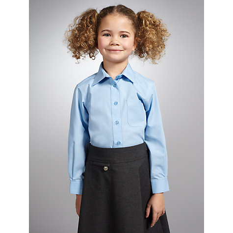 Buy John Lewis Non-Iron Long Sleeve Blouse, Pack of 2, Blue Online at johnlewis.com