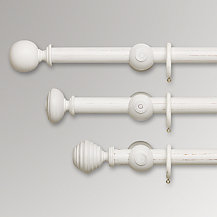 John Lewis Scratched White Wood Curtain Poles, Dia.35mm