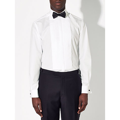 Buy John Lewis Pleated Front Point Collar Double Cuff Regular Fit Dress Shirt, White Online at johnlewis.com