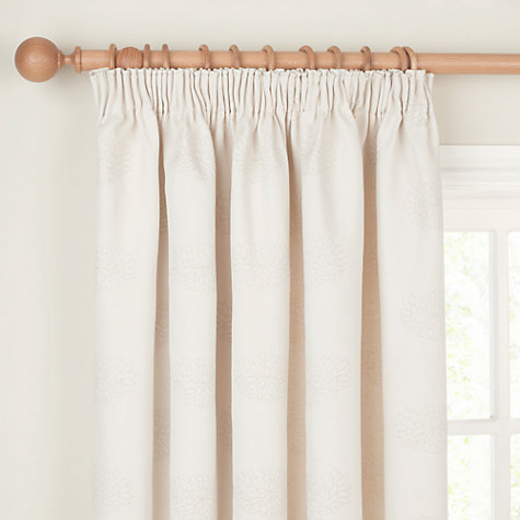 Buy John Lewis Water Lily Pencil Pleat Curtains, Natural Online at johnlewis.com