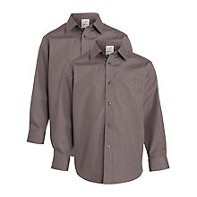 Buy John Lewis Boys' Long Sleeve Non-Iron School Shirt, Pack of 2, Grey Online at johnlewis.com