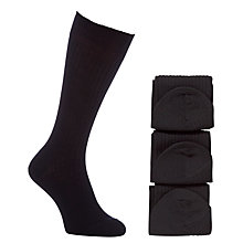 Buy John Lewis Wool Rich Long Socks, Pack of 3, Black Online at johnlewis.com