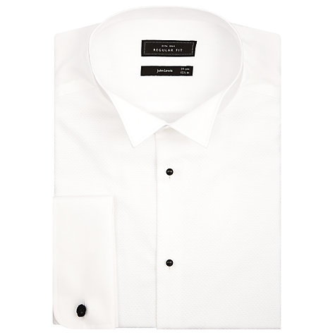 Buy John Lewis Pleated Front Point Collar Double Cuff Dress Shirt, White Online at johnlewis.com