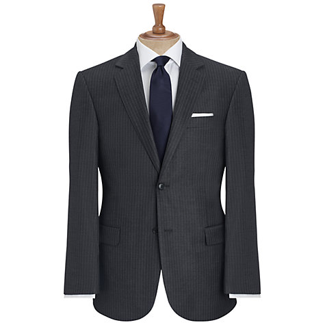 Buy John Lewis Super 100s Wool Flannel Stripe Suit Jacket, Grey Online at johnlewis.com