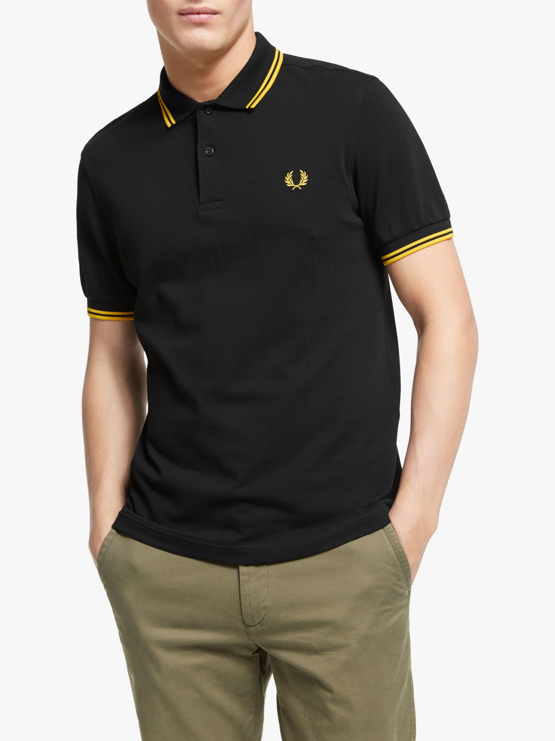 Fred Perry Twin Tipped Slim Fit Polo Shirt BlackYellowYellow