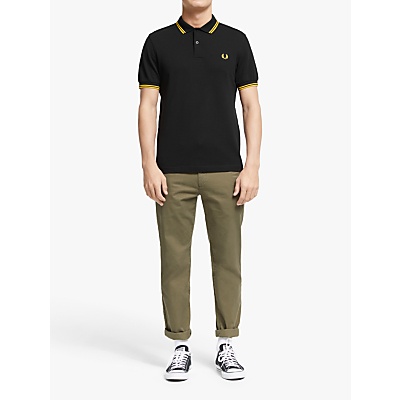 Fred Perry Twin Tipped Slim Fit Polo Shirt BlackYellow