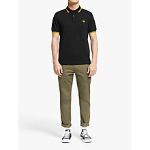 Buy Fred Perry Twin Tipped Slim Fit Polo Shirt, Black/Yellow Online at johnlewis.com