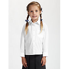 Buy John Lewis Girls' Non-Iron Long Sleeve School Blouse, Pack of 2 Online at johnlewis.com